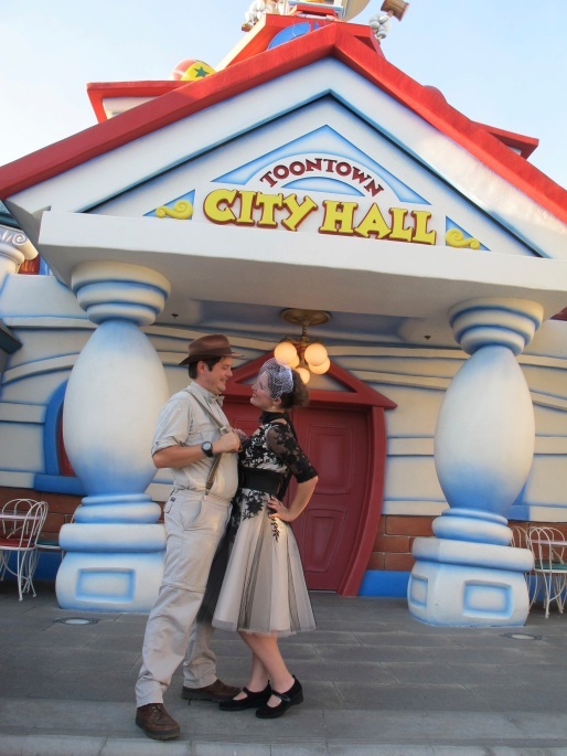 Bride & Groom at Toon Town City Hall